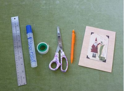 craft materials ruler card pencil seloptape glue scissors
