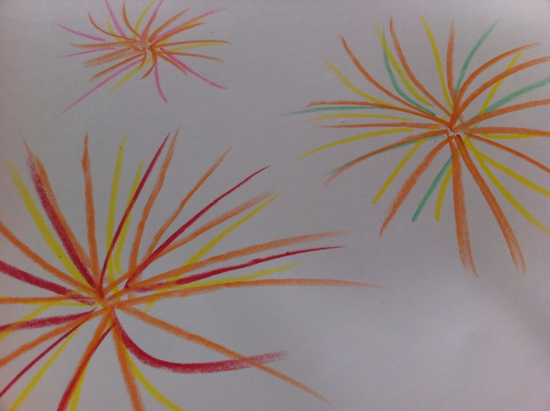 how to draw fireworks with color pencils