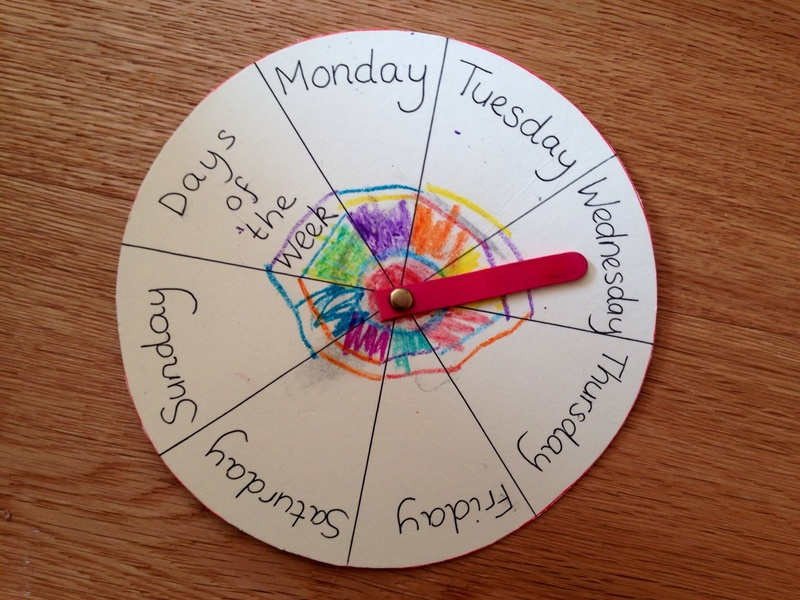 Days of the week wheel, teaching days of the week, days craft for kids   - Days of the Week Wheel