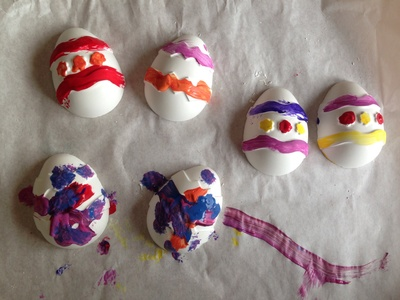 Decorated plaster Easter eggs, non chocolate Easter eggs, decorative Easter eggs, kids craft eggs