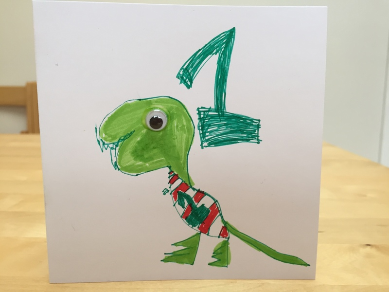 Dinosaur, card, kids art