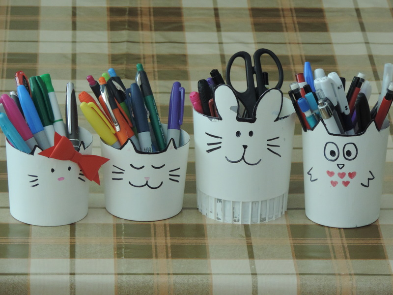 Diy Animal Plastic Pencil Holders My Kid Craft