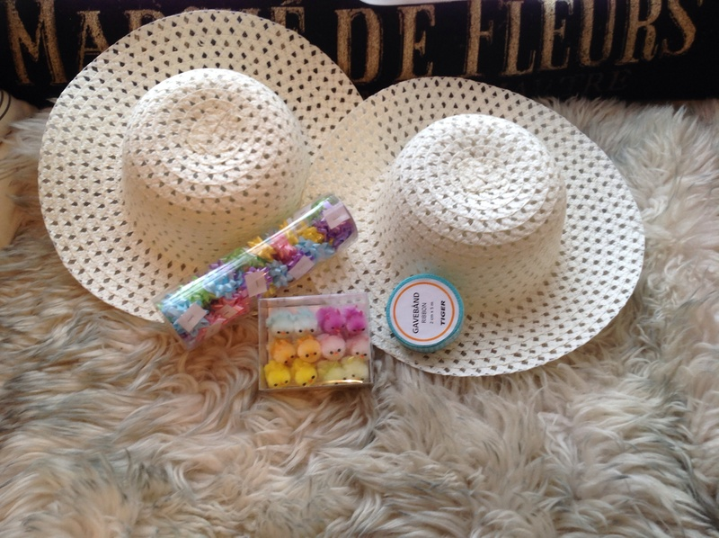 Easter bonnets, chicks, ribbon, gingham, rosettes