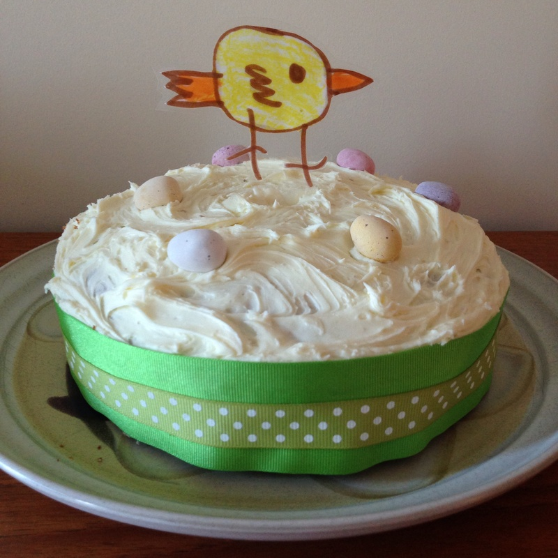 Cake Decorating Homemade : Easter chick cake topper, homemade cake decoration, laminated picture cake decoration, Easter ...