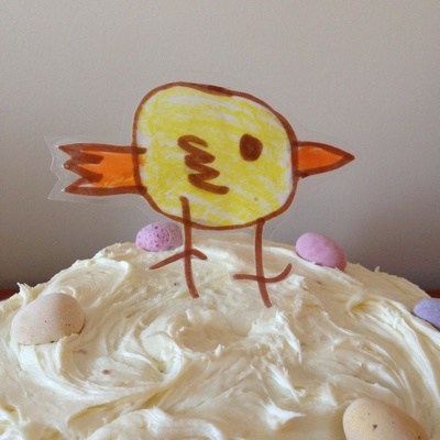 Easter chick cake topper, homemade cake decoration, laminated picture cake decoration, Easter cake decoration