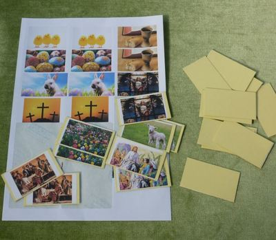 Easter memory card game matching pairs stickers