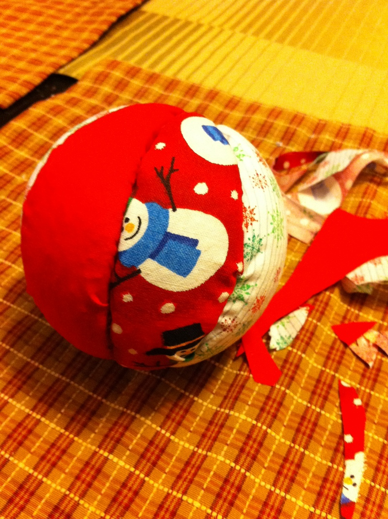 Finished ball  - Fabric and Foam Christmas Balls