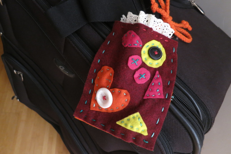 fabric collage  - Collaged Fabric Luggage Tags