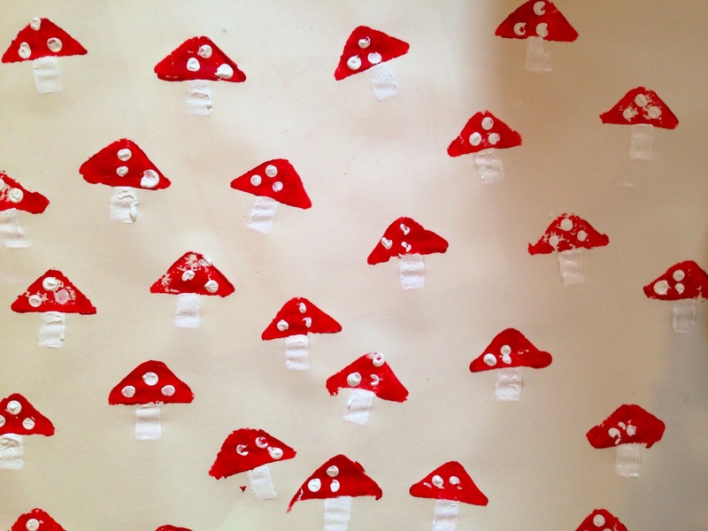 fairy toadstool homemade wrapping paper fairy toadstool potato print kids potato print wrapping paper fairy toadstool craft fun wrapping ideas fairy - Kids Printing Paper