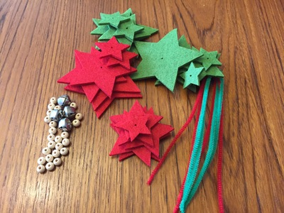 Felt Christmas Tree decoration, red felt stars, green felt stars, jingle bells, pipe cleaner, wooden bead