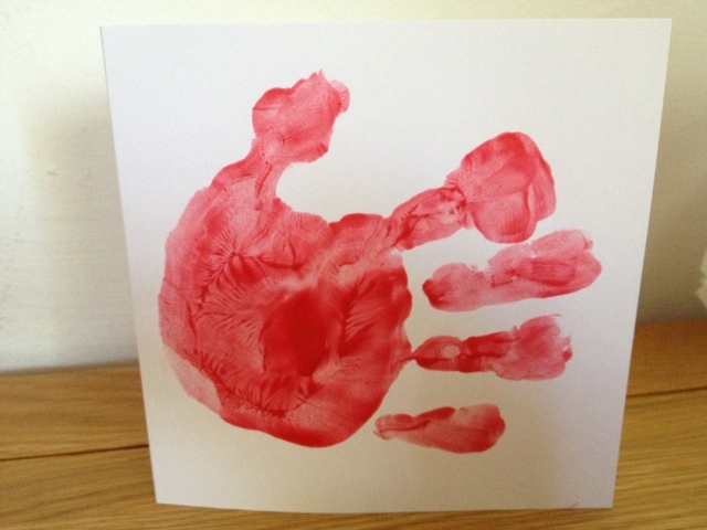 fish handprint toddler baby paint preschool kids card