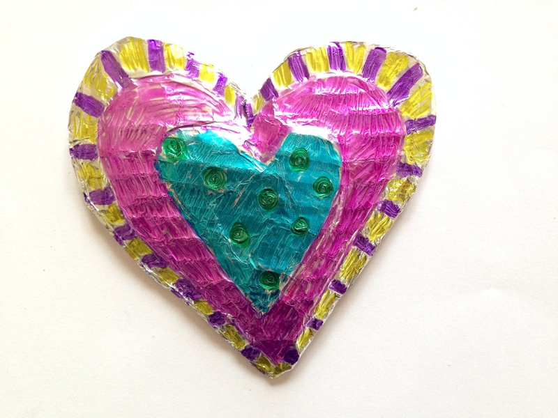 Foil heart, sharpies on foil, decorated foil shape, cheap valentines card, easy valentines card, heart card   -   3D Foil Heart Card