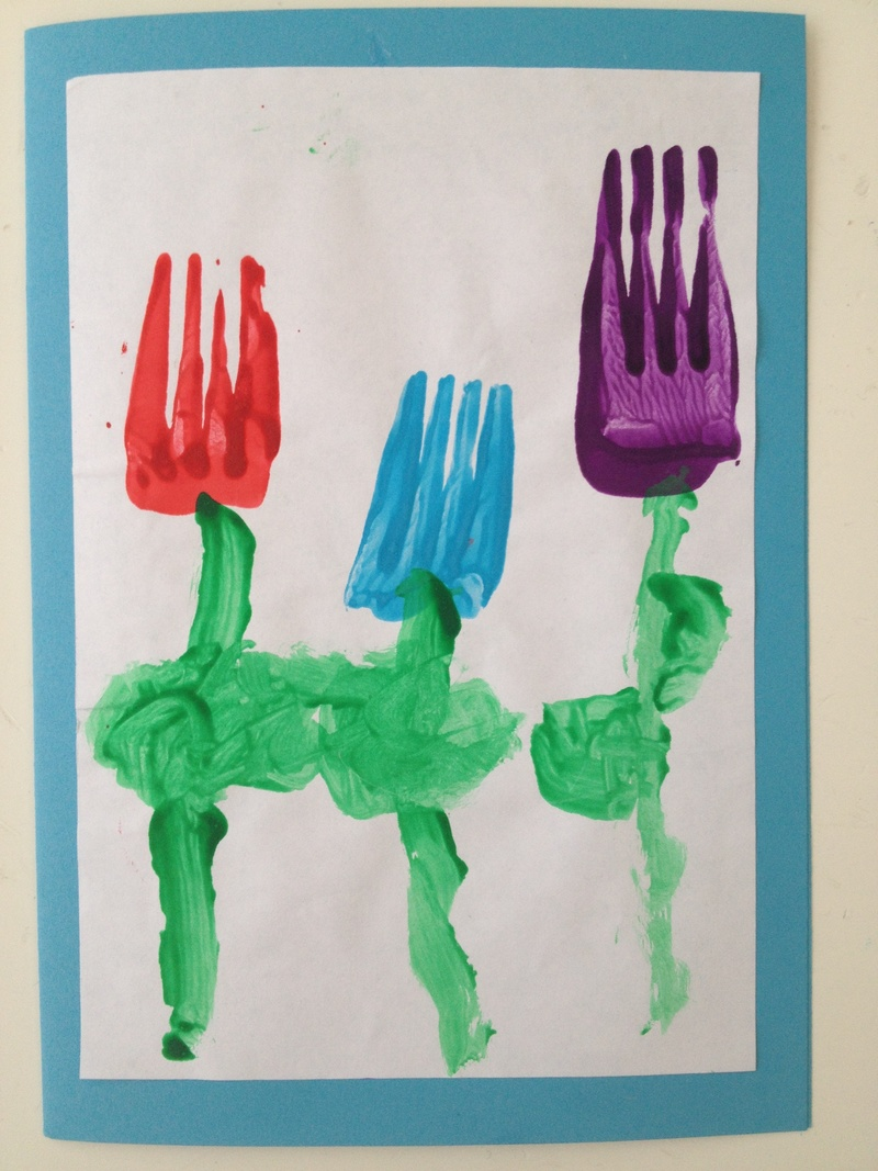 Fork print flower card my kid craft for Mothers day painting crafts