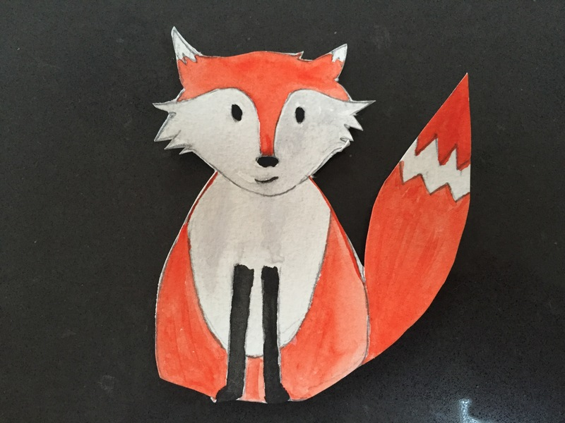 Fox, watercolour, card