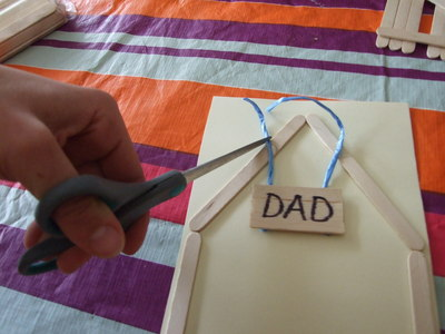 twine, popsicle stick, sign, dad