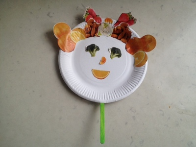 fruit puppet, fruit mask, paper plate puppet, paper plate fruit, kids fruit craft, fruit sticking