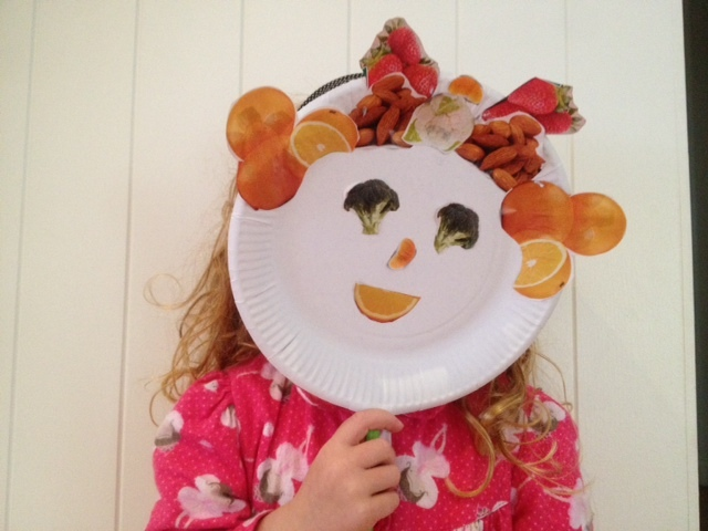 funny fruit face mask, funny fruit face puppet, fruit paper plate puppet, fruit face kids fruit face, fruit craft, fruit art