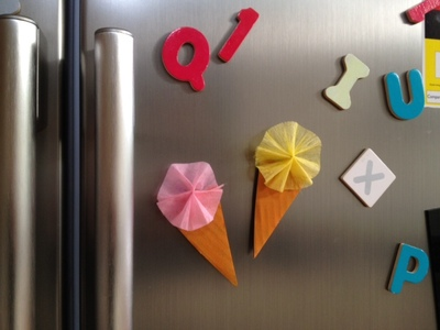gelato fridge magnet, ice cream fridge magnet, gelato craft, ice cream craft, ice cream wafer and concertina, ice cream art, gelato art, kids ice cream craft idea, fridge magnet craft, homemade fridge magnet