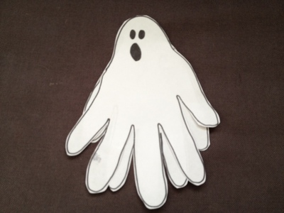 ghost, handprint, toddler, Halloween, paper