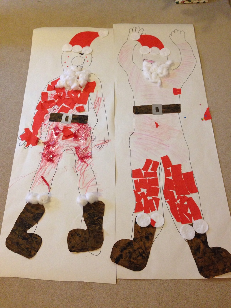 Giant Santa Collage Preschooler Christmas Craft Xmas Craft Ideas