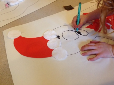 Giant Santa collage, preschooler Christmas craft, Xmas craft ideas, Xmas day craft, Santa craft, Father Christmas craft