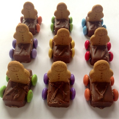 Gingerbread man mars bar car, Mars bar car with smarties wheels, easy kids party food