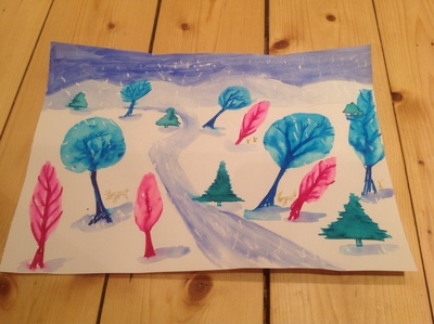 Green trees, blue trees, white paper, blue sky, blue hills, wintry tree scene
