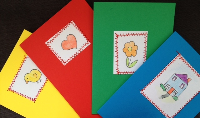 Greeting Card Easter Chick Heart Valentine House Kids Craft Sewing Zig Zag Birthday