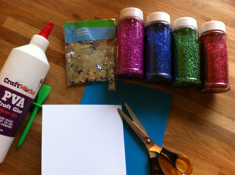 greeting card, glitter, paper craft, any age, glue  - Glitter Cards
