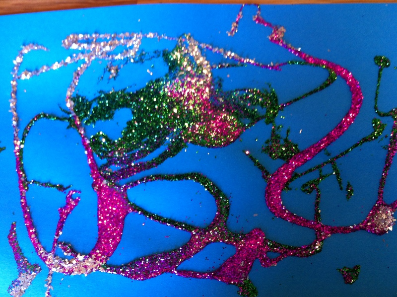 greeting card, glitter, paper craft, any age, glue