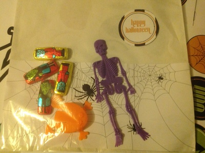 Hallowe'en treat bag, skeleton, spider