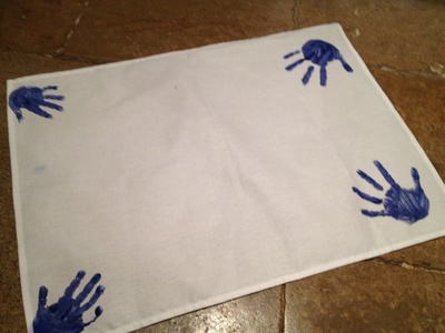 Handprint, tea towel, homemade, preschool, gift