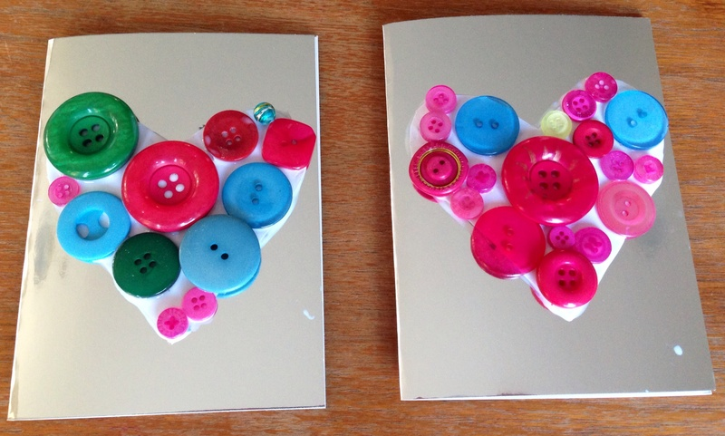 Heart button card button card kids craft button heart button – Easy Valentine Cards for Kids