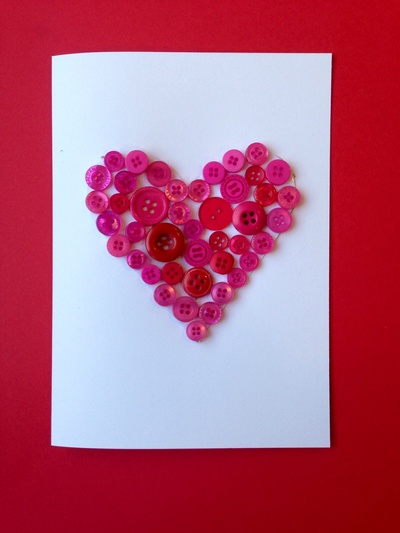 Heart button card, button card, kids craft button heart, button heart valentines, homemade valentines card, kids easy valentines card, heart