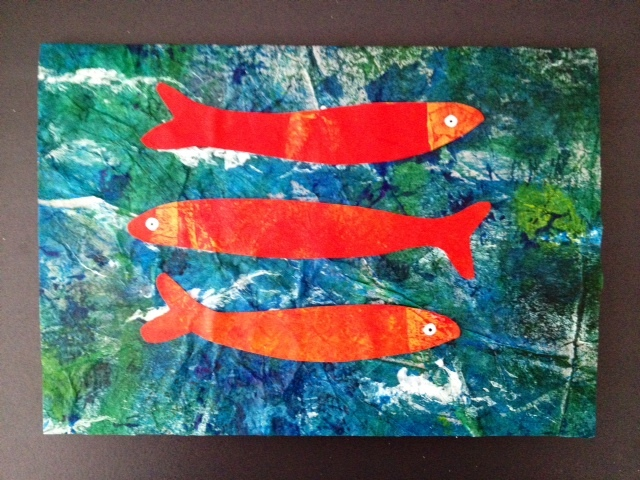 homemade greeting card, fish card, under the sea card, homemade birthday card, kids craft, eric carle painting technique  - Vibrant Fish Greeting Card