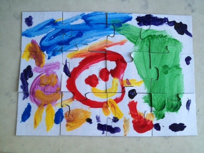 homemade jigsaw, preschooler jigsaw, toddler art jigsaw, unusual kids craft projects