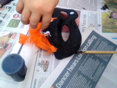 homemade kids craft bird masquerade mask feathers