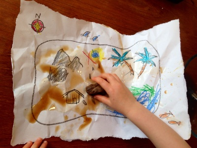 Homemade treasure map, treasure map, kids craft treasure map, tea stain treasure map, aged treasure map