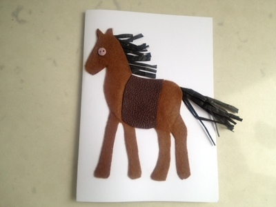 horse greeting card, kids horse felt, horse picture felt, horse craft idea, pony picture felt, kids horse art, felt horse leather saddle