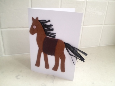 horse greeting card, pony greeting card, homemade horse card, homemade horse greeting card, DIY horse card, kids horse card, felt horse card, make your own horse card, how to make a horse card, horse card tutorial