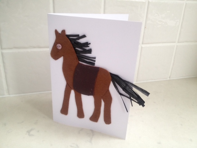 Horse greeting card pony greeting card homemade horse card homemade horse greeting card diy horse card kids horse card felt horse card make your own horse card how to make a horse card horse card tutorial1