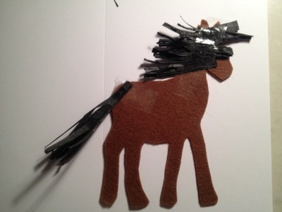horse mane raffia, pony mane raffia, sticking on pony mane to card, sticking horse mane to card, horse mane and tail raffia craft