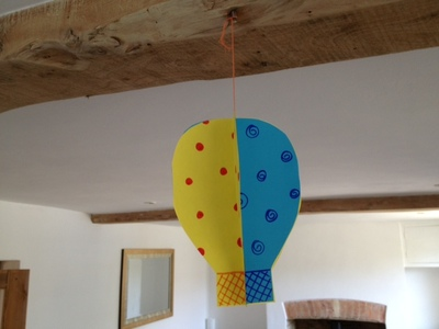 hot air balloon, paper, papercraft, kids, children, sky, mobile, craft, activity, pre school, toddler