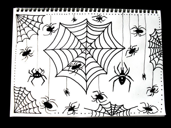 Draw a Spiderweb and Spider for Halloween - My Kid Craft