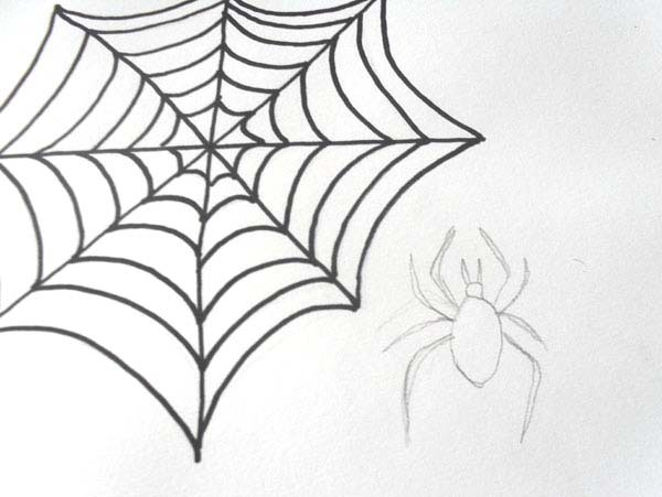 How to draw spider cobweb drawing halloween draw a for Easy drawing websites