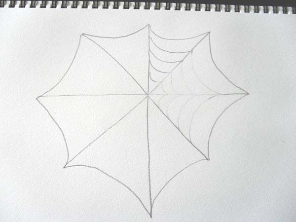 How to draw a easy spider web for Easy drawing websites