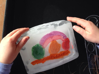 Ice painting, painting on ice blocks, kids ice craft, winter craft ideas for kids