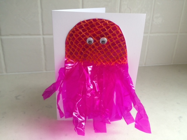 jellyfish card, jellyfish birthday card, jellyfish greeting card, under the sea card, kids sea creature card, pink jellyfish, cellophane and net jellyfish, easy kids greeting card  - Jellyfish Birthday Card