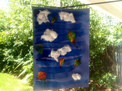 kids craft colourful kites sky dispersing paper cotton wool clouds