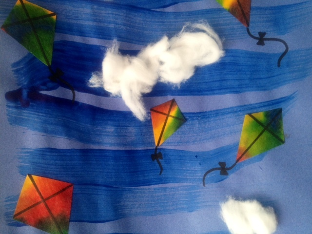 kids craft colourful kites sky dispersing paper cotton wool clouds  - Colourful Kites In A Cloudy Sky
